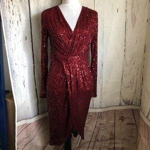 Fashion Nova Shimmery Night Sequin Midi Dress